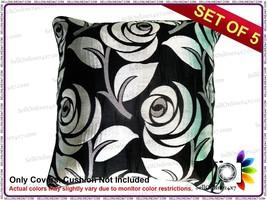 Slub Art Silk with Center Cream Quilting Leaf Black Base Cushion Covers ... - €9,49 EUR