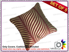 Polyster Silk Rust Golden Waves Pattern Cushion Covers Set of 5 Pcs - $11.58