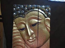 3-part Wooden Thai Handmade Buddha face panel - Cracked Gold finish - $65.99