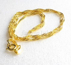 Unisex 45cm 24K Yellow Gold Plated Spring Ring Clasp Sparkle Chain Necklace - $10.53