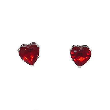 0.5 cts Heart Cut Red Fire Garnet cz 4mm Stud Earrings 925 Sterling Silver