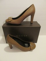 NEW Gucci Light Brown Leather Interlocking G Pumps - Retail $595+TAX - $209.99
