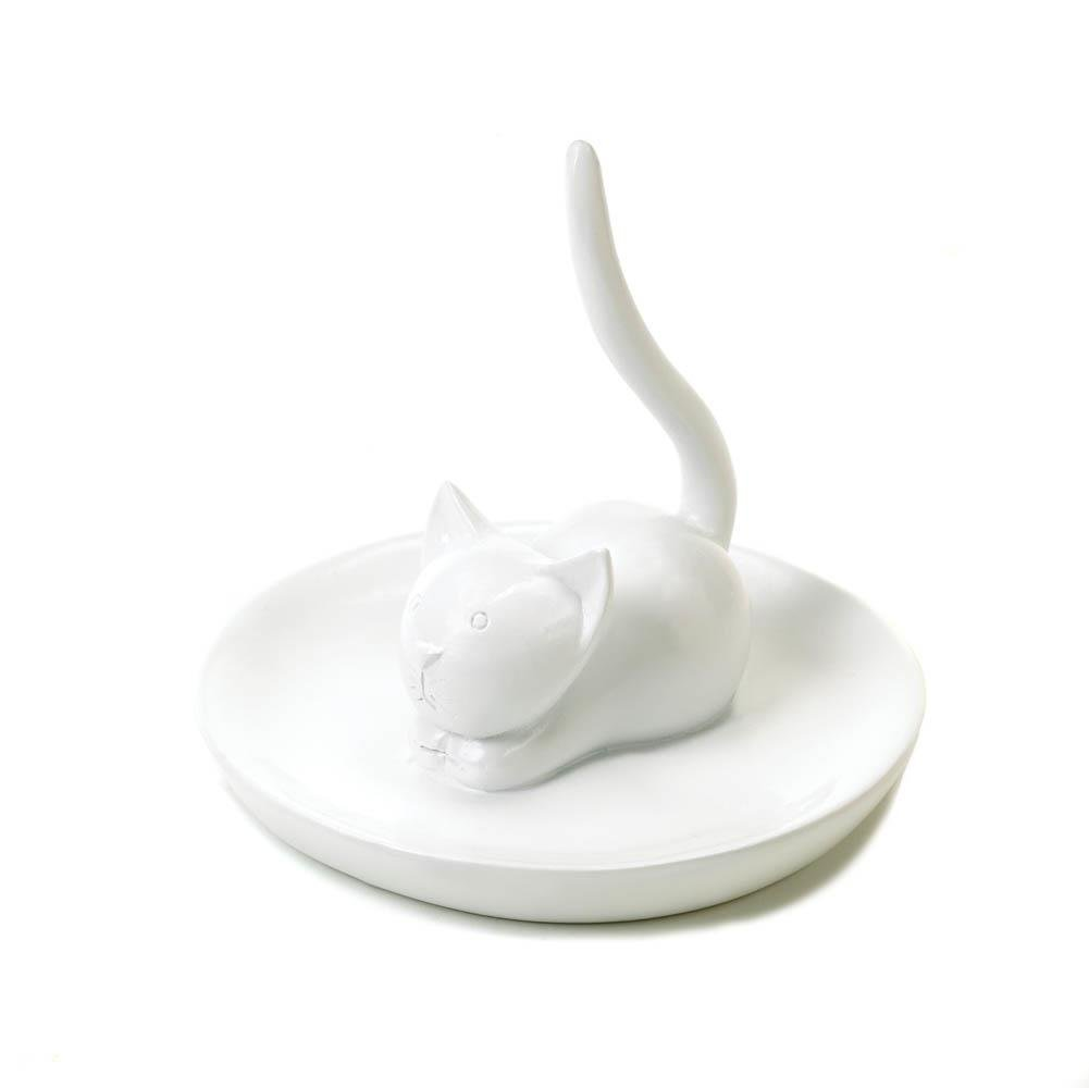 Trinket Tray, Charming Cat Wedding Engagement Jewelry Cute Ring Holder For Sink