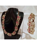 Vintage Pink and Red  Rhinestone Gold Tone Necklace and Bracelet Set - $32.99
