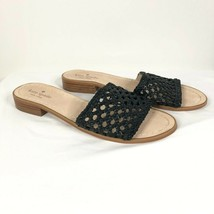 Kate Spade Womens Berlin Sandals Slides Leather Woven Black Size 9 - $43.53
