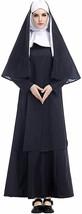 RIBIKA Halloween Black Medieval Nun Adult Robe Costume Cosplay Dress Cloak - $66.65
