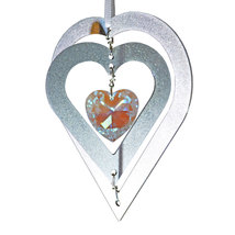 3D Aluminum and Crystal Heart Ornament image 4