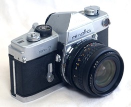 MINOLTA SR-7 VINTAGE SLR 35mm Film Camera FOCAL 28mm f/2.8 Lens JAPAN - $64.80