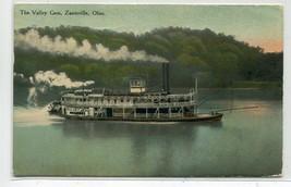 The Valley Gem Paddle Steamer Zanesville Ohio 1911 postcard - $6.93