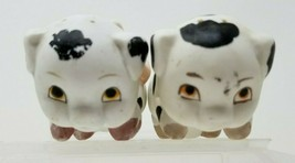 Vintage Spotted Black and White Pig Salt and Pepper Shakers - $19.79