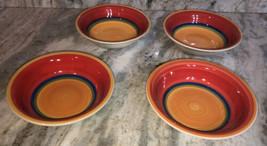 """Royal Norfolk 7 1/2""""Soup Cereal Bowls Set Of 4 Mango Red/Orange-Brand New-SHIP24 - $59.28"""
