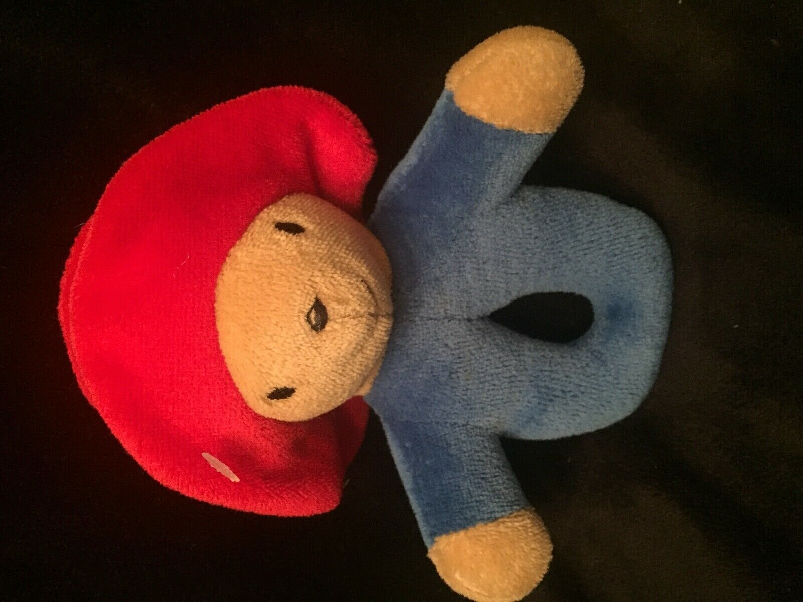 "Eden Paddington Bear Red Hat Plush Baby RATTLE  7"" Hand Held Rattle Red Hat  - $6.92"