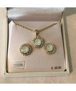 Swarovski Crystal Earring and Necklace Boxed Gift Set Gold Tone Jewelry ... - $29.99