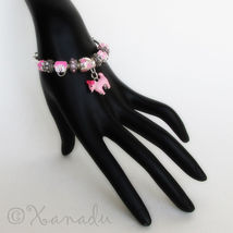 Pink Puppy Dog European Charm Bracelet With Pink Rhinestone And Heart Beads - $46.00