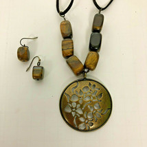 Avon Tiger Eye And Antique Brasstone Necklace Choker And Pierced Earrings Set  - $16.82