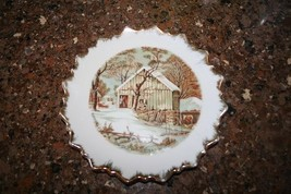 Currier and Ives The Old Homestead In Winter Decorative Plate With Gold ... - $14.99