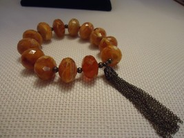 "Avon ""Chunky"" Beaded Bracelet (Stretch) Topaz Color New 2006 Stock - $4.25"