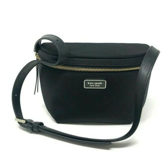 Kate Spade Dawn Place Belt Bag Fanny Pack Sling Nylon w Leather $178 Black New