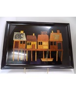 VTG COUROC TRAY FISHING SHACK PIER BOAT MONTEREY CA 12x18 INLAY BRASS WOOD USA - $47.50