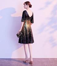 Knee Length Black Gold Sequin Dress Sleeved V Neck Sequin Dress Wedding Dress image 6
