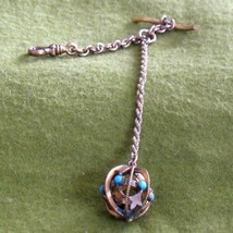 1900s HFB Pocket Watch Fob Fleur-de-Lis Pattern Globe w/ Turquoise Glass... - $74.95