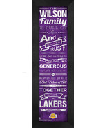 """Personalized Los Angeles Lakers """"Family Cheer"""" 24 x 8 Framed Print - $39.95"""