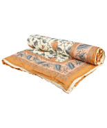 Home Furnishing Bedding Quilt Bedspread Grey Exotic Leaves Double Razai - $47.00