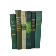 Vintage Book Stack Lot 6 Green Antique Farmhouse Wedding Decorative Display - $42.52