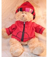 Teddy Bear Stuffed Animal Toy Large Brown Winter Jacket Hat - $19.79