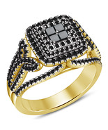 Princess Cut Lab Black Diamond Yellow Gold Over 925 Silver Womens Wedding Ring - $75.99