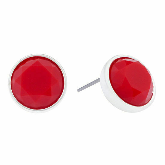 Primary image for Liz Claiborne Women's Red Stone Stud Earrings Silver Tone New