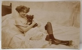 1910s French NUDE Bare Breast SEXY Innocent lady w/ Puppy Orig JEAN AGEL... - $89.09