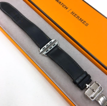 Apple Watch Hermes Vaux Valenia Ebenne Simple Tour Deployant Buckle 42mm Used - $434.60