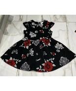 PL Kids Girls Black White Floral Print Back Zip Dress Size 5 - $7.57