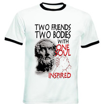 Homer Two Friends Quote - New Black Ringer Cotton Tshirt - $27.99