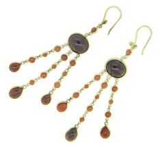 "14k Gold Genuine Natural Garnet Large Drop Earrings 27 Carats 3"" Long (#... - $600.00"