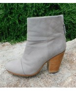 RAG & BONE Classic Newbury Gray Leather Leather Booties sz 37.5, 7 - $86.85
