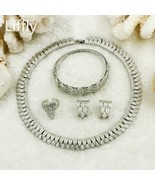 2019 African Luxury Bride Silver Jewelry Sets Charm Women Leaf Necklace ... - $38.68
