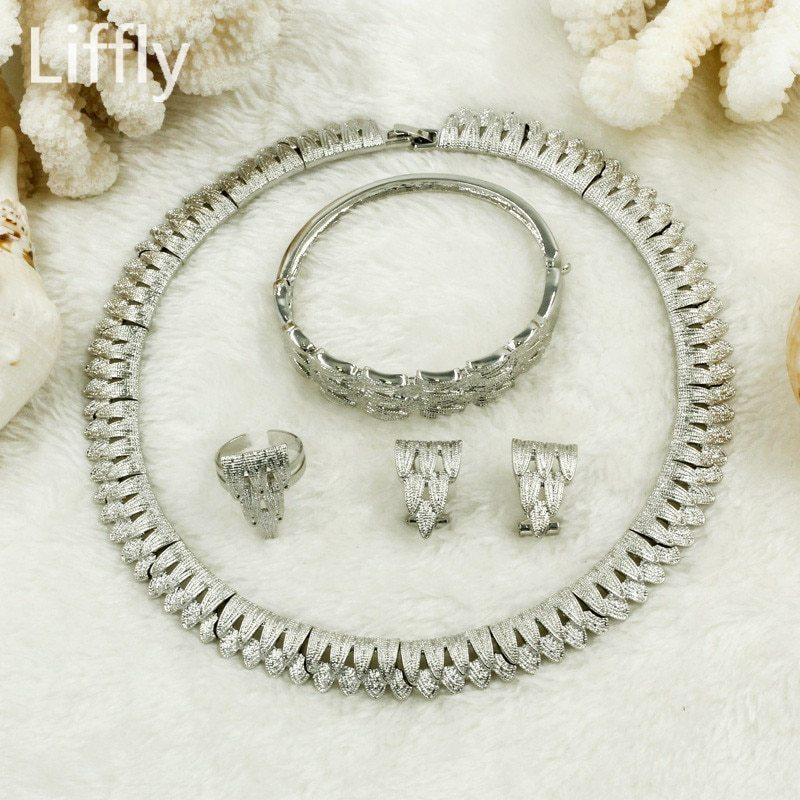 2019 African Luxury Bride Silver Jewelry Sets Charm Women Leaf Necklace Choker B