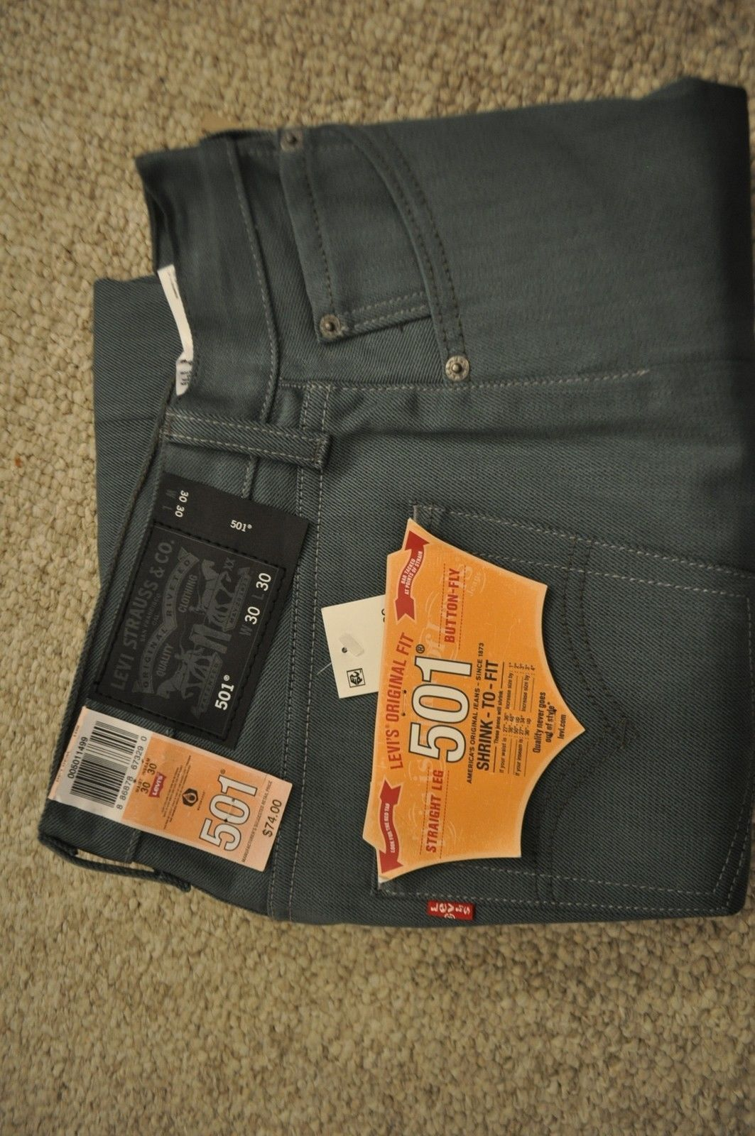 NWT Men's Levi's 501 Original Fit Shrink-To-Fit Straight Button Fly Green 30/30