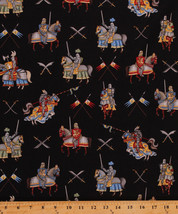 Enchanted Kingdom Medieval Knights Horses Swords Cotton Fabric Print BTY... - $10.95