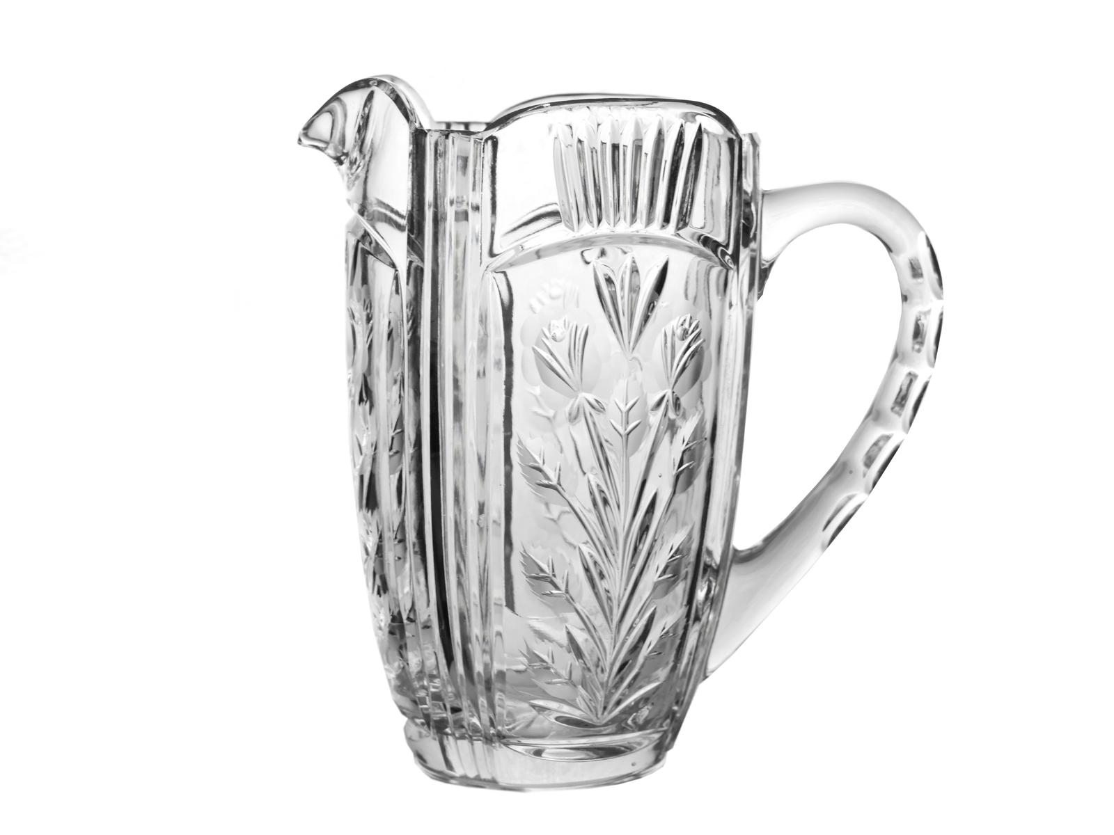 Vintage Heavy Cut Etched Floral Design Clear Crystal Glass Pitcher Serving Drink - $140.00
