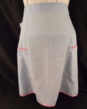 Half Apron Handmade Cotton Baby Blue Bright Pink Trim 2 Front Pockets La... - $9.89