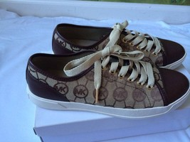 Michael Kors Brown MK logo Textile & Leather Sneakers Flat 10M New - $79.19