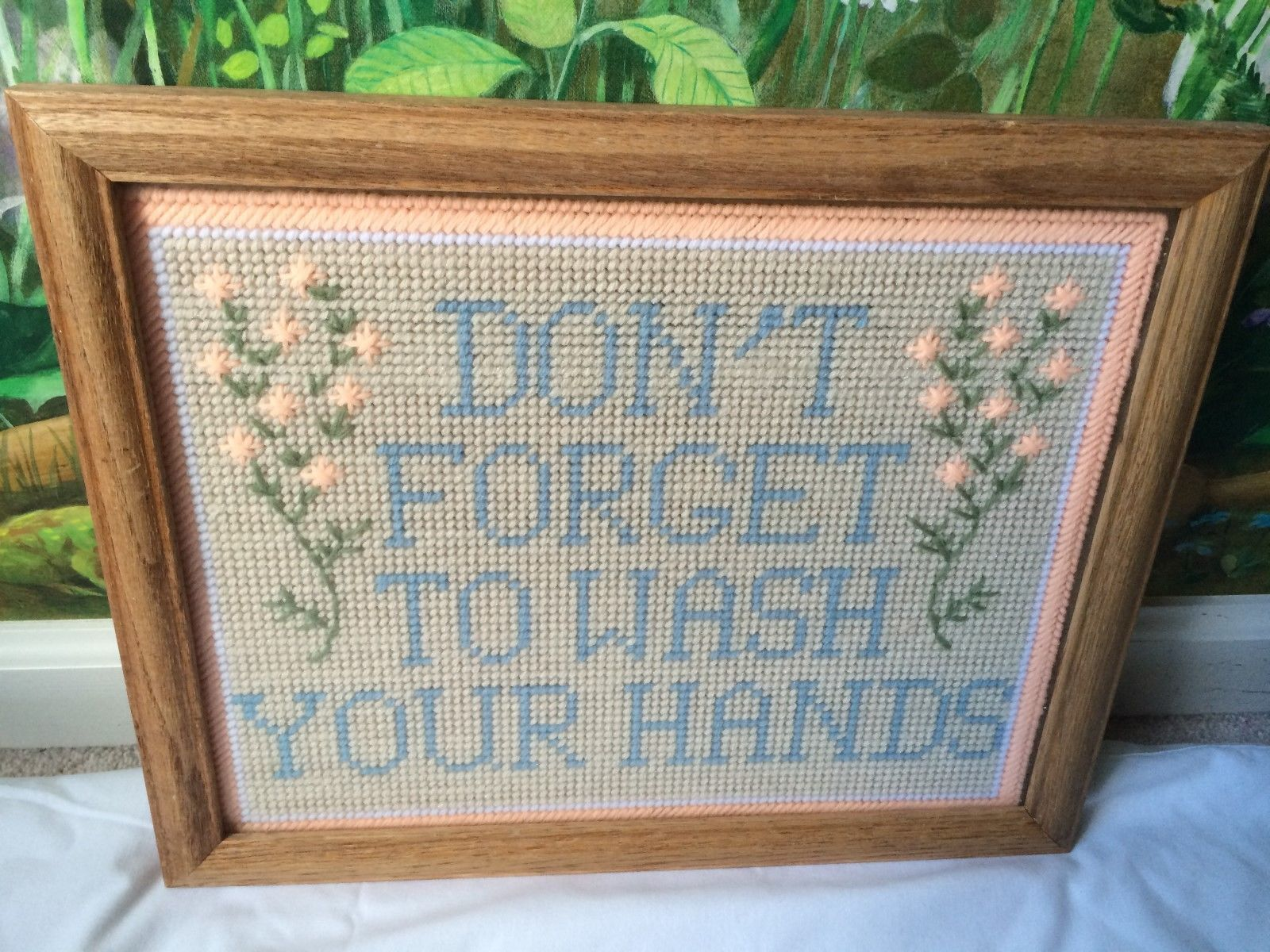 "Primary image for VTG Nedlepoint Handmade Wood Framed ""Don't Forget To Wash Your Hands"""