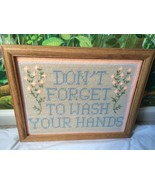 "VTG Nedlepoint Handmade Wood Framed ""Don't Forget To Wash Your Hands"" - $29.69"