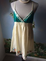 Flutterbye Womens Light Yellow, and Green Embroidery Dress Size L NWT - $39.55
