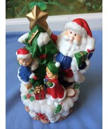 Santa and 2 Grils Holding Christmas Tree Musical Figurine - $19.75
