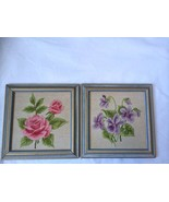 Needlepoint Embroidered Garden Flowers 2 Wooden Framed Picture Wall Decor - $49.49