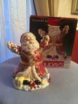 Home For The Holidays Santa In Red Accented with Gold Trinket Box Figurine - $19.75